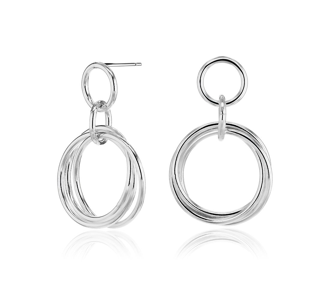 Rolling Ring Hoop Earrings in Sterling Silver