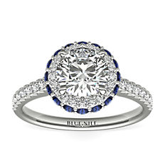 Rollover Sapphire and Diamond Halo Engagement Ring in 14k White Gold