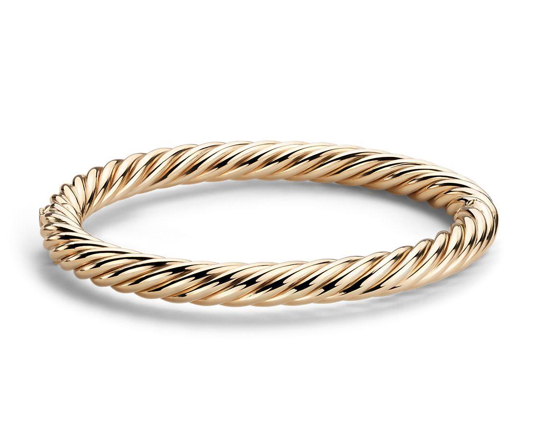 Brazalete tipo esclava estilo cuerda en oro amarillo italiano de 14k