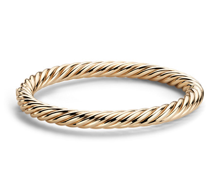 Rope Bangle Bracelet in 14k Italian Yellow Gold