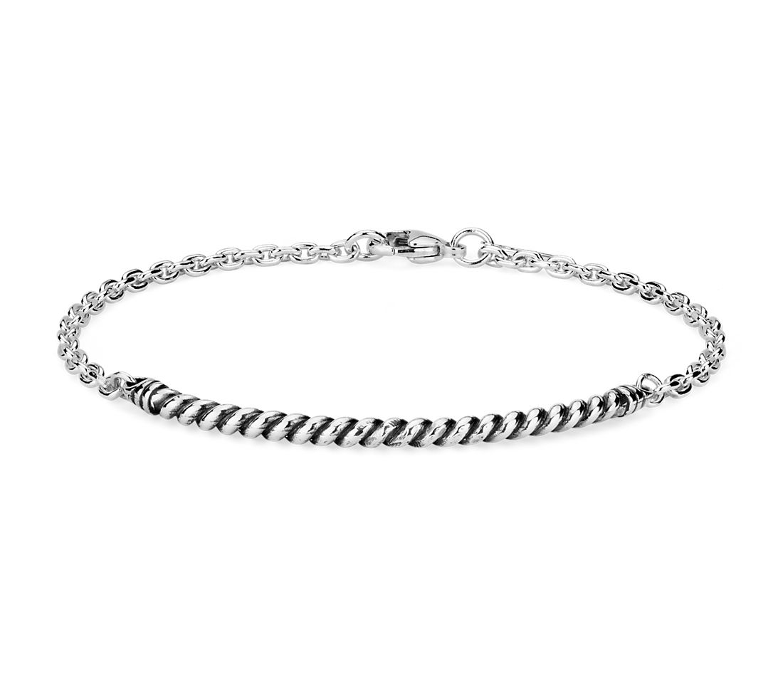Rope Bar Bracelet in Sterling Silver