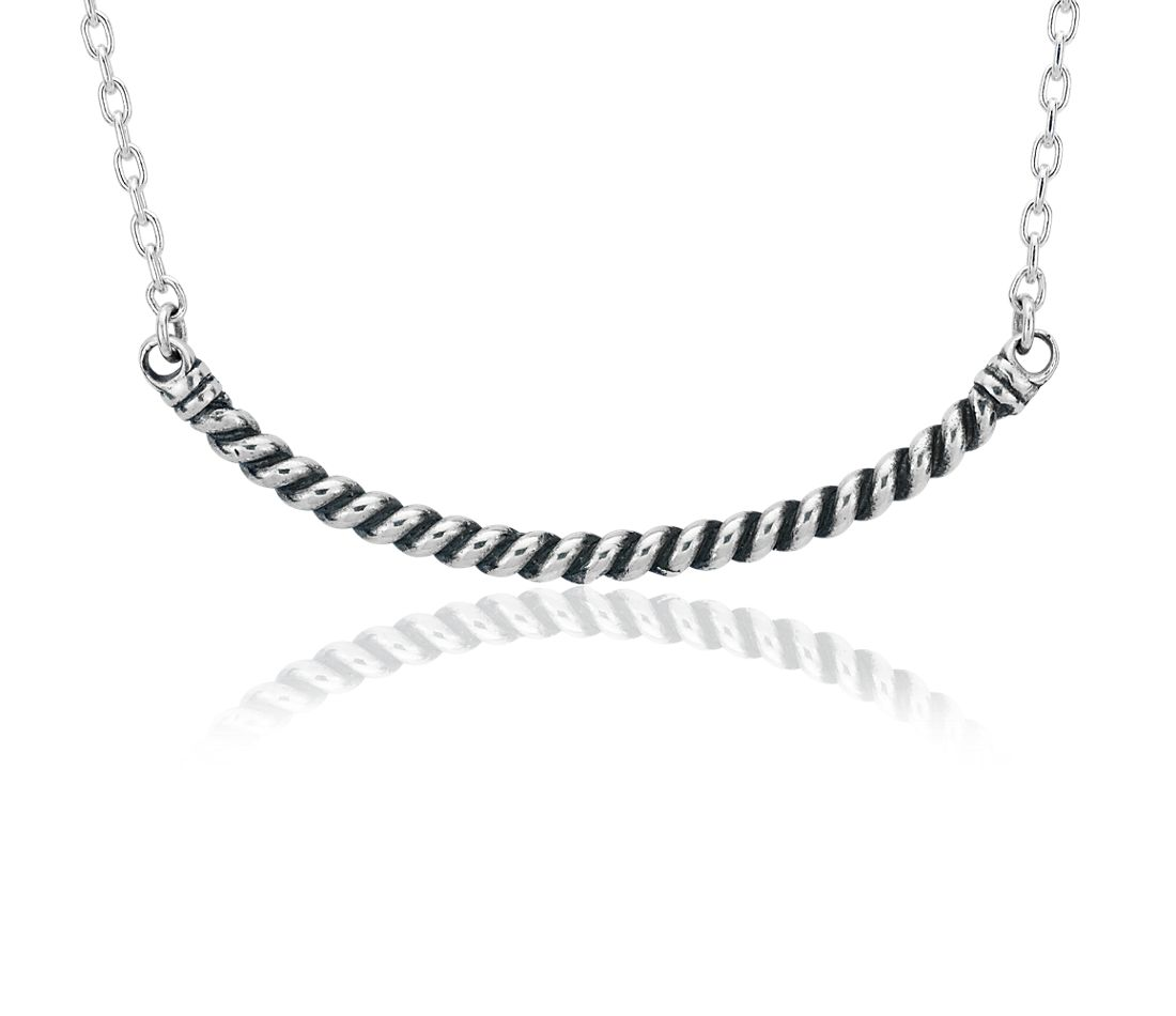 Rope Bar Smile Necklace in Sterling Silver