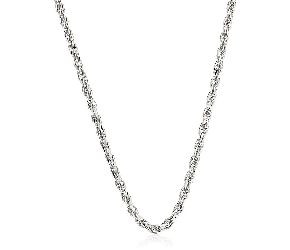 Rope Chain in 14k White Gold (1.15mm)