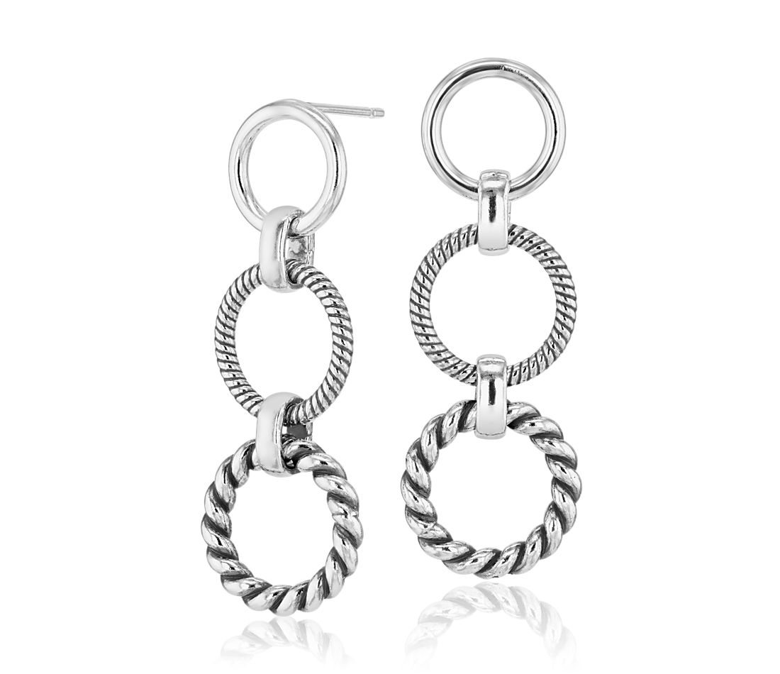 Rope Circle Drop Earrings in Sterling Silver
