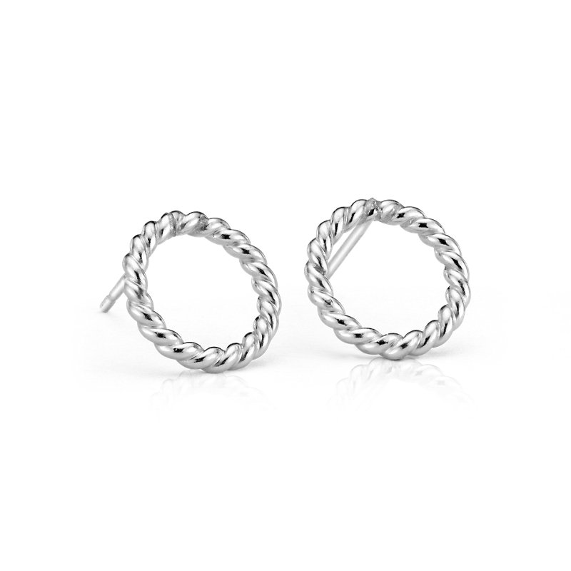 Rope Circle Stud Earrings in Sterling Silver