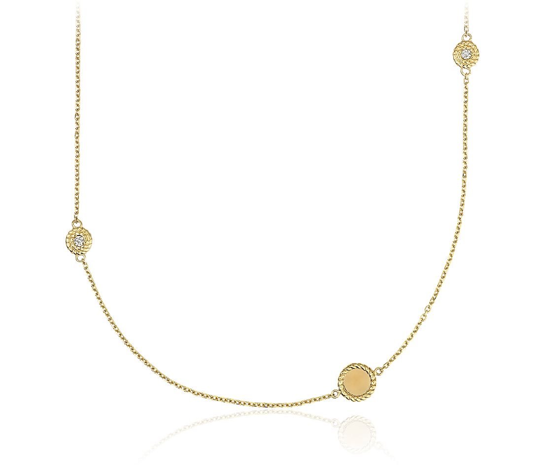 Roped Disc Station Necklace with Diamond Detail in 14k Italian Yellow Gold