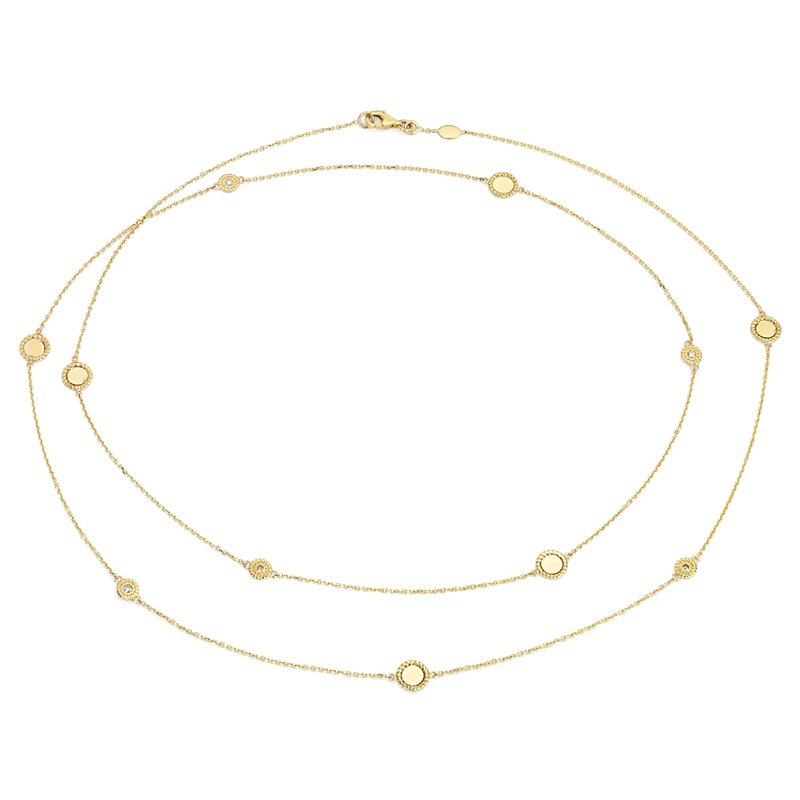 Roped Disc Station Necklace with Diamond Detail in 14k Italian Ye