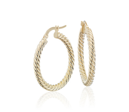 Rope Twist Hoop Earrings in 14k Yellow Gold 1""