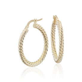 "NEW Rope Twist Hoop Earrings in 14k Yellow Gold (1"")"
