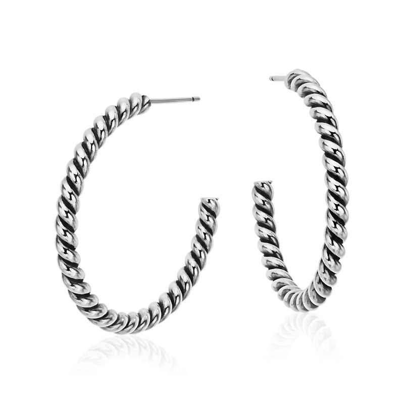 "Rope Twist Hoop Earrings in Sterling Silver (1 1/4"")"