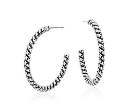 Blue Nile Rope Twist Hoop Earrings in Sterling Silver (1 1/4) LKbih4ZJ