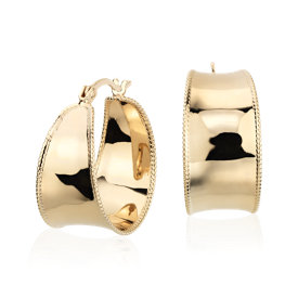 "Roped Hoop Earrings in Yellow Gold Vermeil (7/8"")"