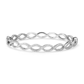 Roped Infinity Hinged Bangle in Sterling Silver