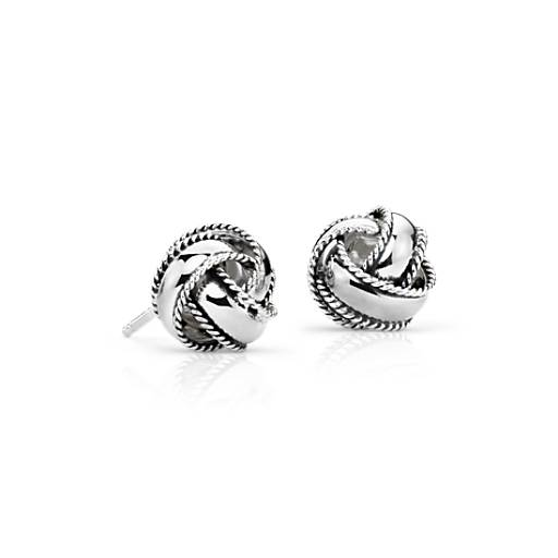 Roped Love Knot Earrings In Sterling Silver Blue Nile