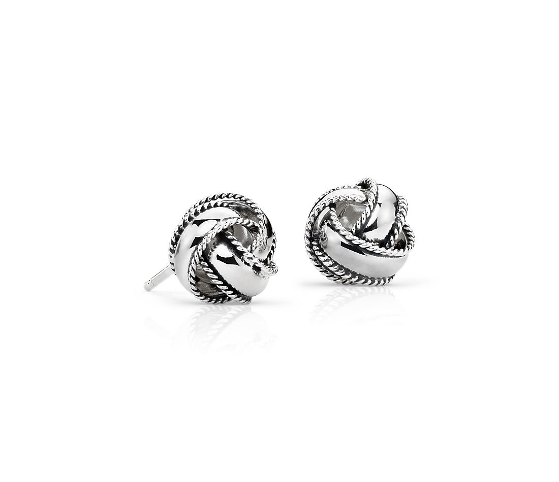 Roped Love Knot Earrings in Sterling Silver