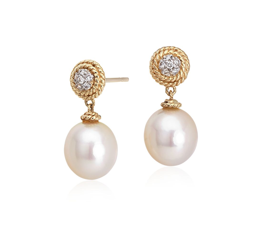 Freshwater Cultured Pearl and Diamond Roped Earrings in 14k Yellow Gold