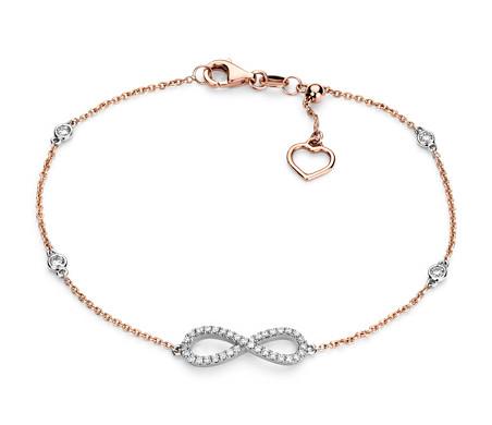 Blue Nile Delicate Diamond Bar Bracelet in 14k Rose Gold (1/5 ct. tw.) DG4U98