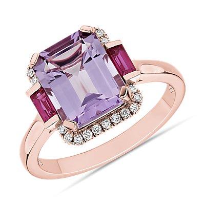 14k 玫瑰金法国玫瑰紫水晶和红宝石八角形戒指