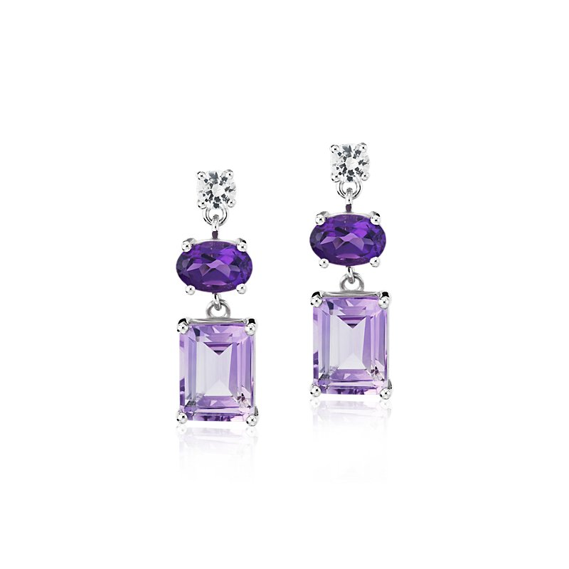 Rose de France, Amethyst, and White Sapphire Mixed Shape Drop Ear