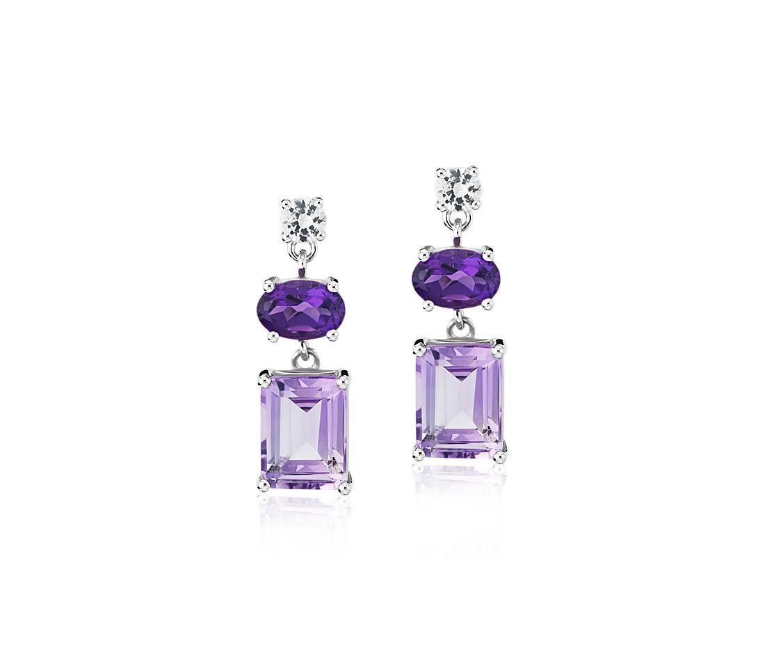 Rose de France, Amethyst, and White Sapphire Mixed Shape Drop Earrings in Sterling Silver