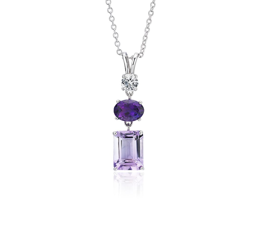 Amethyst, Rose de France Amethyst and White Sapphire Tower Pendant in Sterling Silver