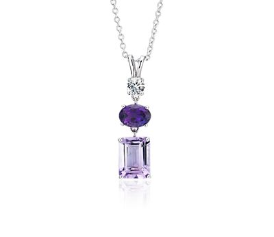 Amethyst and White Sapphire Tower Pendant
