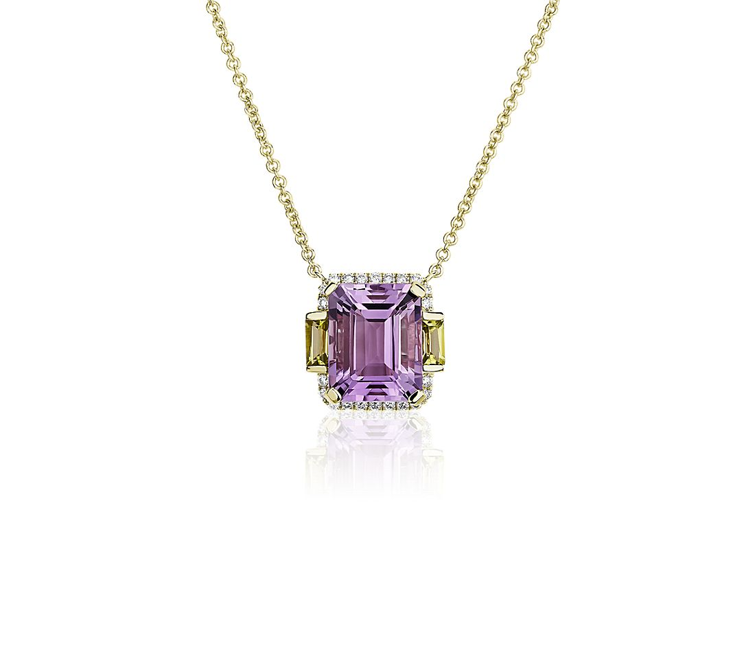 Rose de France Amethyst and Peridot Octagon Pendant in 14k Yellow Gold