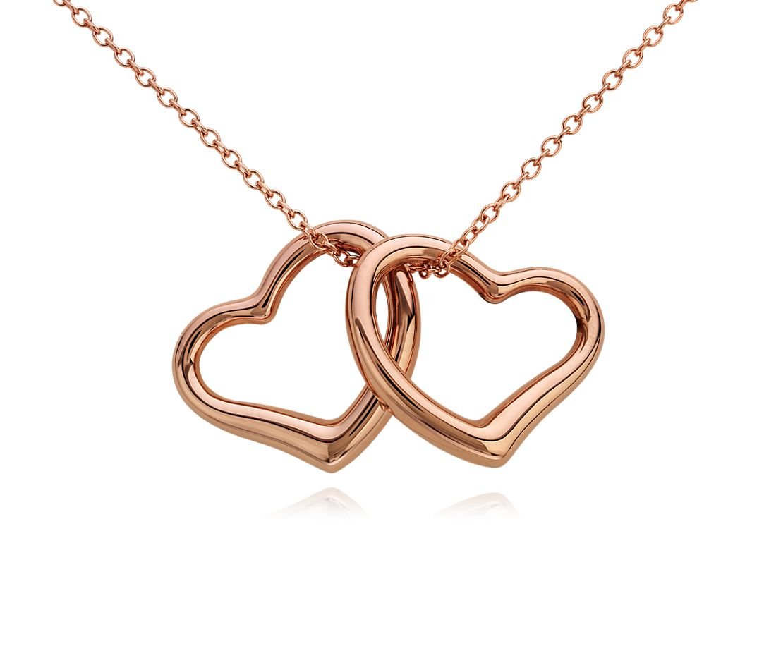 Classic Double Hearts Pendant in 14k Rose Gold