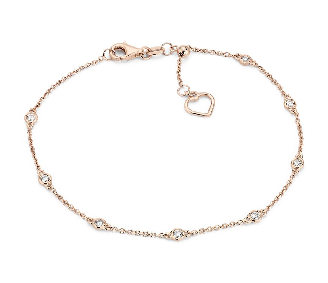 Diamond Station And Heart Bracelet In 14k Rose Gold 1 4