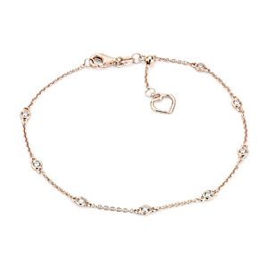 NEW Diamond Station and Heart Bracelet in 14k Rose Gold (1/4 ct. tw.)