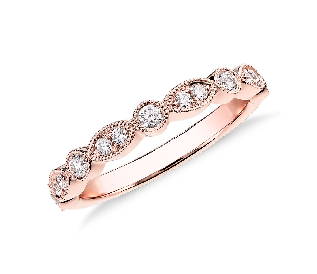 Milgrain Marquise And Dot Diamond Ring In 14k Rose Gold 1 5 Ct