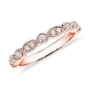 Bague de fiançailles diamant marquise mille-grains et pois en or rose 14carats (1/5carat, poids total)