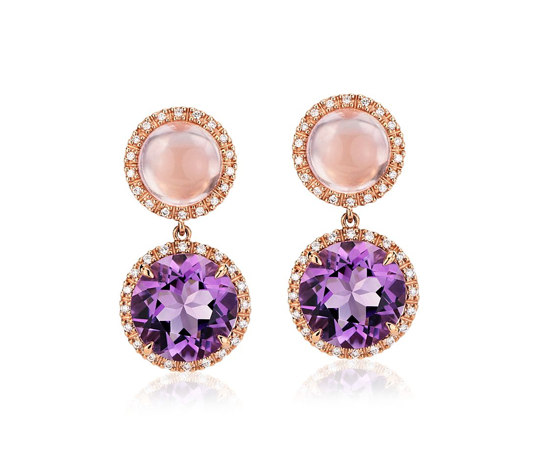 c197275ba Rose Quartz and Amethyst Drop Earrings with Diamond Halo in 14k Rose Gold ( 10mm) | Blue Nile