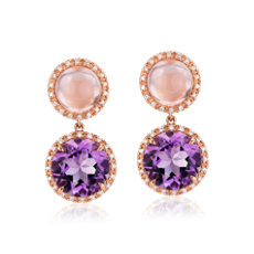 Rose Quartz and Amethyst Drop Earrings with Diamond Halo in 14k Rose Gold (10mm)