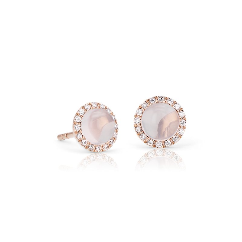 Petite Rose Quartz Cabochon Earrings with Diamond Halo in 14k Ros