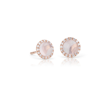 Petite Rose Quartz Cabochon Earrings with Diamond Halo in 14k Rose Gold