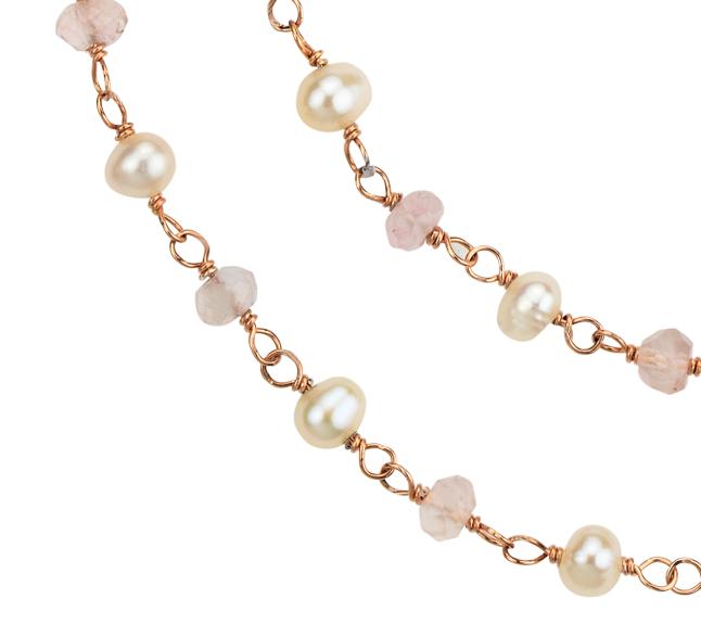Collar de cuarzo rosado y perla en plata bañada en oro (3mm)