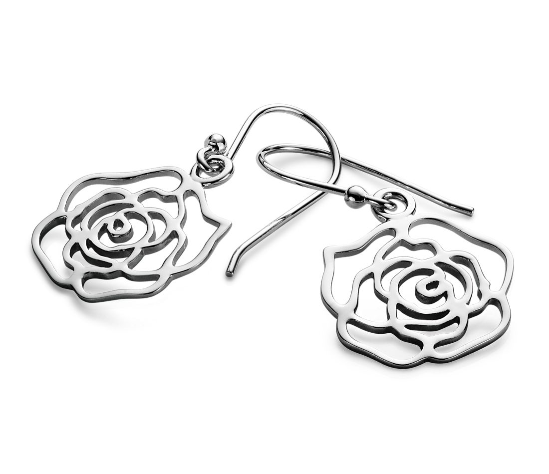 Open Rose Earrings in Sterling Silver