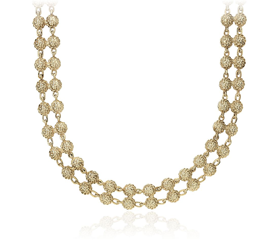 Rosette Double Row Necklace in 14k Yellow Gold
