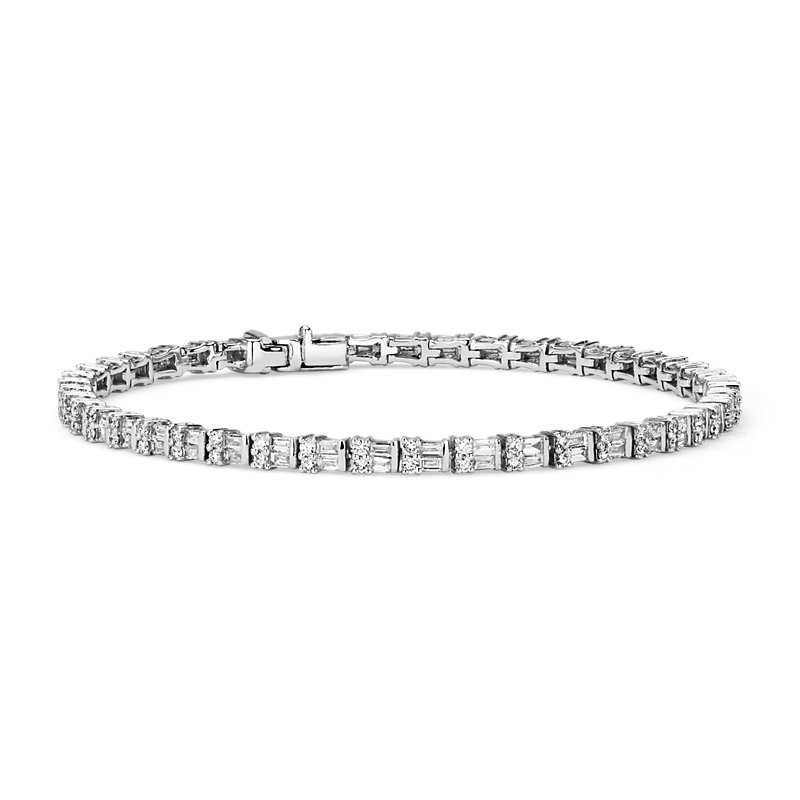 Round & Baguette Diamond Bracelet in 14k White Gold (2 1/4 ct. tw