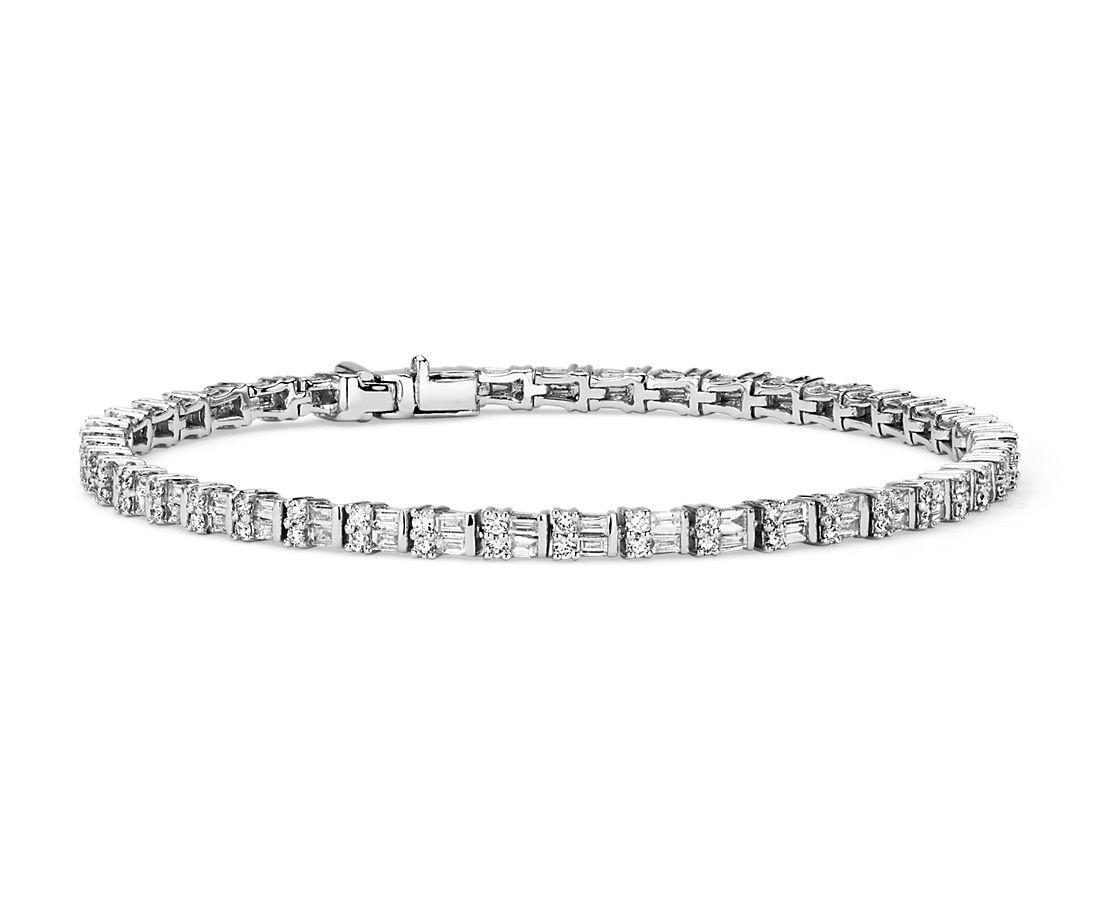 Bracelet diamants tailles baguette et rond en or blanc 14carats (2 1/4carats, poids total)