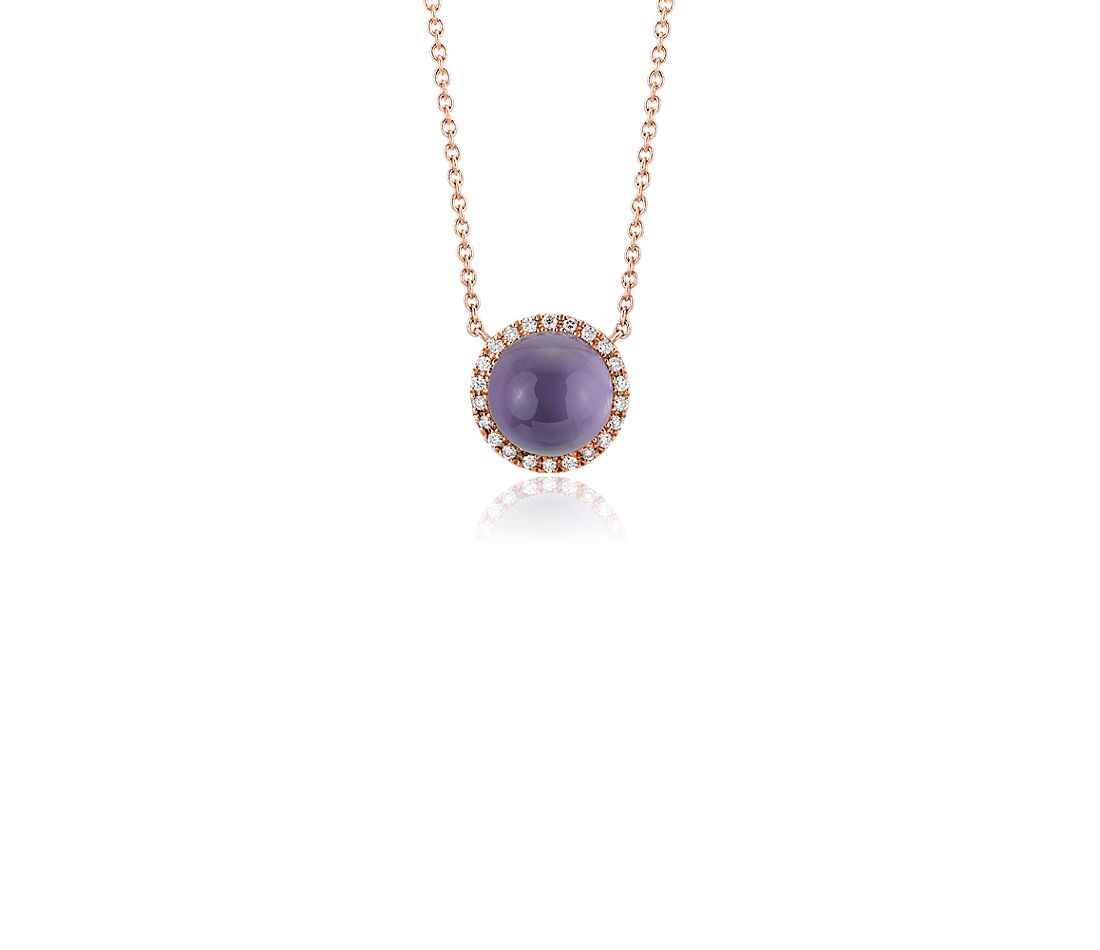 Petite Round Amethyst Cabochon Pendant with Diamond Halo in 14k Rose Gold (7mm)