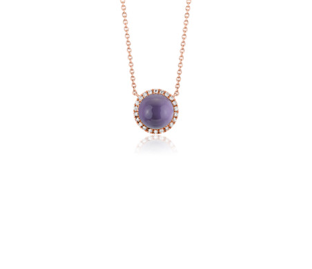Petite Round Amethyst Cabochon Pendant with Diamond Halo in 14k Rose Gold