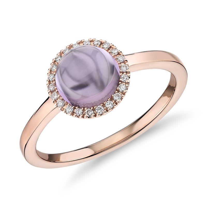 Petite Round Amethyst Cabochon Ring with Diamond Halo in 14k Rose