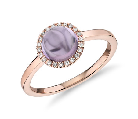 Petite Round Amethyst Cabochon Ring with Diamond Halo in 14k Rose Gold (7mm)