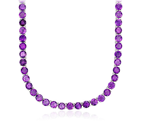Round Amethyst Eternity Necklace in Sterling Silver (5mm)