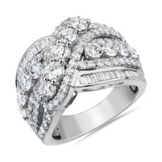 NEW Round and Baguette Crossover Fashion Ring in 14k White Gold (3 ct. tw.)