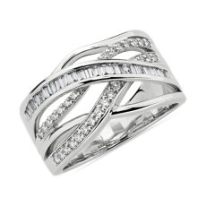 NEW Round and Baguette Diamond Crossover Fashion Ring in 14k White Gold (1/2 ct. tw.)