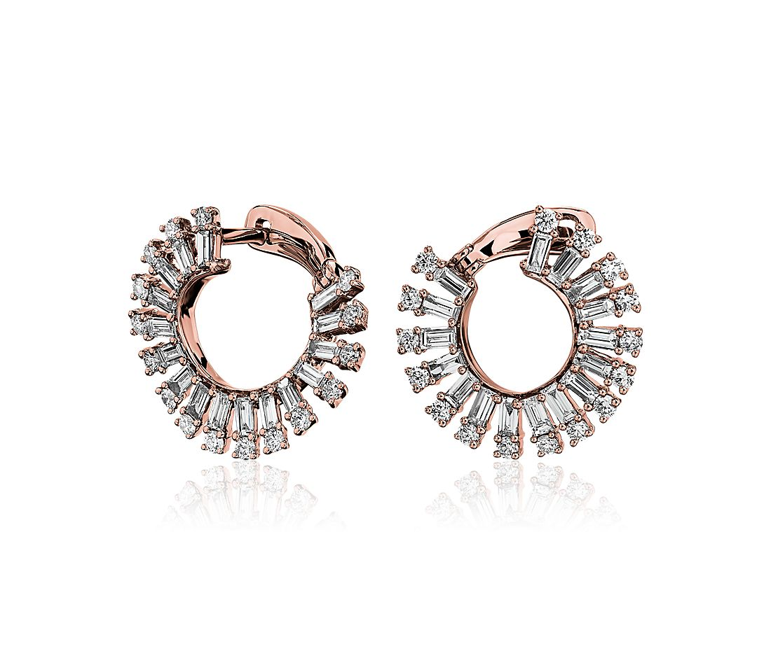 Round and Baguette Diamond Open Sun Fashion Earrings in 14k Rose Gold (1 1/2 ct. tw)