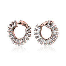 NEW Round and Baguette Diamond Open Sun Fashion Earrings in 14k 玫瑰金 (1 1/2 克拉總重量)